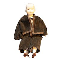 """Bisque Hand Painted China Head Doll Germany Boy 12"""" Brown Velvet Suit"""