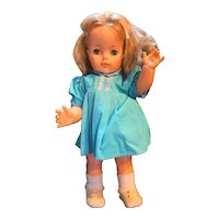 """Ideal Toys Walking Doll 1965 19"""" Turquoise Dress"""