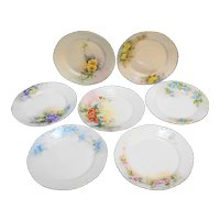 Haviland France Hand Painted Flowers Small Plates Set of 7