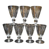 Sevron Starfire Crystal Water Goblets Stems Set of 7