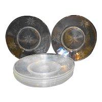 Sevron Starfire Crystal Luncheon Plates Set of 7