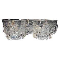 Pressed Glass Star Panel Punch Cups Set of 5