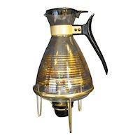 Pyrex Gold Stripe Coffee Carafe Server Candle Warmer