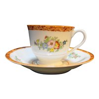 Occupied Japan Demitasse Cup Saucer Floral