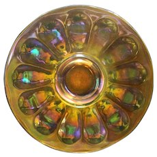 Imperial Glass Marigold Wide Panel Carnival Glass Plate