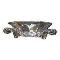 Clear Glass Heavy Optic Panel Console Bowl Scroll Feet