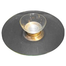 Buenilum Aluminum Clear Glass Plain Bowl Platter Lazy Susan Chip Dip Set