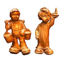 Faux Wood Hard Plastic Figurines Boys Buckets Candle