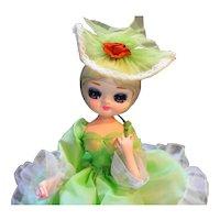 "Artmark Boudoir Green Dress Big Eyes Vintage Doll 11"""