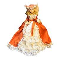 "Artmark Boudoir Red Burnt Orange Dress Big Eyes Vintage Doll 19"""