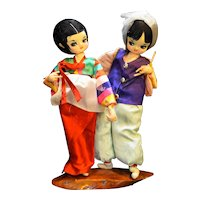 Artmark Stuffed Cloth Painted Asian Style Dolls Pair