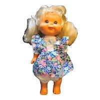 Honeycomb Panosh Place Vintage 1986 Doll Blonde Pigtails Blue Floral Dress