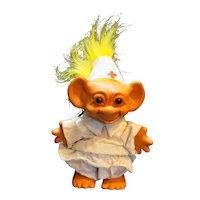 Uneeda Wishnik Trolls Troll Nurse Doctor Doll Yellow Hair 1990s Vintage