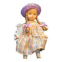 Bisque Porcelain Tiny Doll Braids Plaid Dress Mini Dollhouse Miniature 4 1/2""