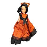 "Nancy Ann Storybook Hard Plastic Sleep Eyes 7"" Doll 1950s Spanish Dress Vintage"