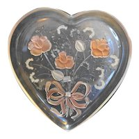 Mikasa Crystal Walther Germany Pink Frosted Roses Heart Tray