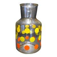 Yellow Orange Green Polka Dots Glass Water Carafe