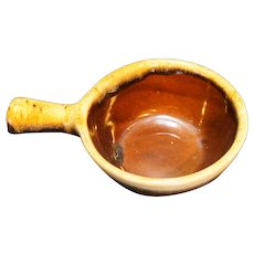 Western Stoneware Monmouth Pottery Brown Drip Stick Handle Onion Soup Bowl