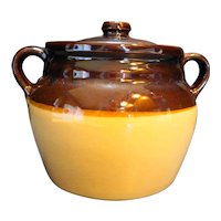Brown Mirror Glaze Top Beige Base Bean Pot USA