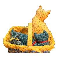 Basket of Stuffed Calico Cats Multicolor Folk Art