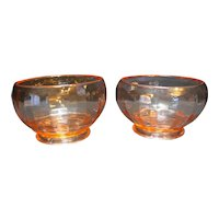 Pink Depression Glass Ribbed Optic Panels Rose Bowls Pair