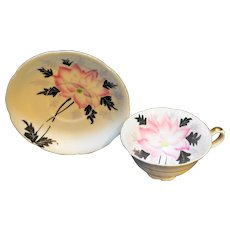 Pink Hand Painted Flower Black Leaves Cup Saucer Made in Japan