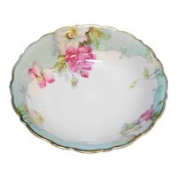 PTS Bavaria Hand Painted Roses Scalloped Serving Bowl