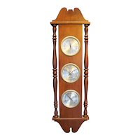 Airguide Weather Station Thermometer Barometer Hygrometer Cherry Wood