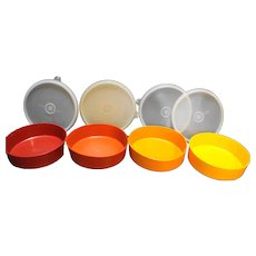Tupperware 1405 Wonder Bowls Harvest Colors With Lids Red Orange