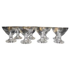 Anchor Hocking Bubble Boopie Foot Sherbet Low Champagnes Set of 8 Cut Fern Leaf