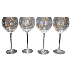 "Lenox Butterfly Meadow Clear Wine Balloon Glasses 8 7/8"" Set of 4"