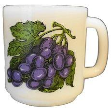 Glasbake Grapes Milk Glass Mug
