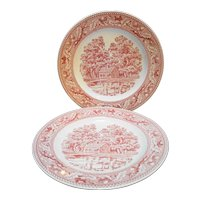 Royal China Memory Lane Red Transferware Dinner Plates Pair