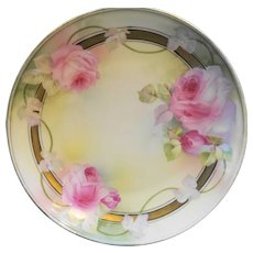 Reinhold Schlegelmil RS Germany Hand Painted Pink Roses Small Plate
