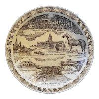 Kentucky Souvenir Plate Vernon Kilns Brown Transferware