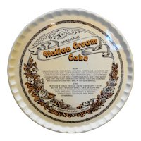 Royal China Italian Cream Cake Recipe Decorated Serving Plate 12""