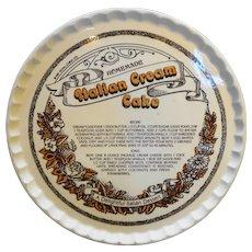 "Royal China Italian Cream Cake Recipe Decorated Serving Plate 12"""