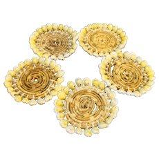 Raffia Sea Shell Coasters Set of 5