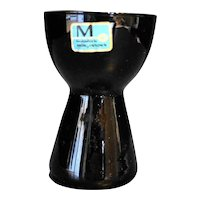 Morgantown Barton Black Glass Candle Holder Original Label Midcentury Modern
