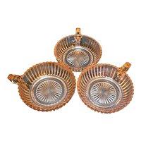 Queen Mary Prismatic Pink Depression Glass Hocking Fruit Dessert Handle Bowls Set of 3