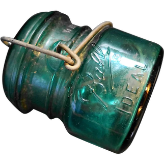 Ball Ideal Half Pint Green Bicentennial Wire Bale Canning Jar
