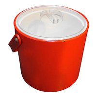 Georges Briard Red Vinyl Ice Bucket Clear Lid