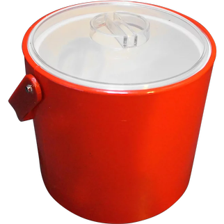 Georges Briard Red Vinyl Ice Bucket Clear Lid