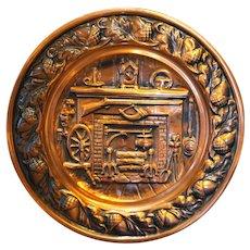 Coppercraft Guild Plate Colonial Pioneer Hearth Scene