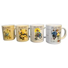 Norman Rockwell Saturday Evening Post Porcelain Mugs Set of 4 With Box