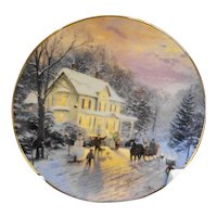 Thomas Kinkade Sleighride Home Christmas Plate Signed in Box COA