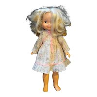"""Fisher Price My Friend Mandy 1970 Doll Blond 16"""" Floral Dress Pink Ribbons"""