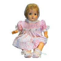 Composition Head Baby Doll 1940s Cloth Body Vinyl Arms Legs