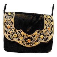Black Velvet Embroidered Beaded Purse Made in India Vintage