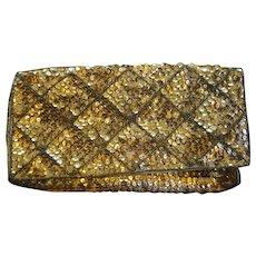 La Regale Sequin Beaded Gold Diamond Pane Clutch Evening Bag